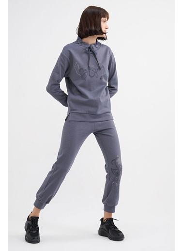 BGN Antrasit - Taş Baskılı Sweatshirt - Jogging Pantolon Takım Antrasit